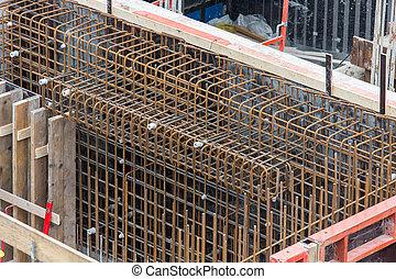 鋼鉄, 基礎, バー, コンクリート, 準備ができた, 補強された