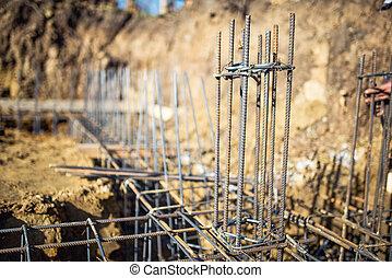 鋼鉄, 基礎, バー, 下部組織, -, 細部, サイト, 建設, 新しい, 補強された