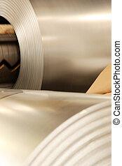 鋼鉄, 大きい, アルミニウム, 工場, 回転する