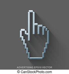 鋼鉄, 平ら, 磨かれる, 10, 灰色, eps, 金属, カーソル, バックグラウンド。, 広告, vector., icon., マウス, 3d