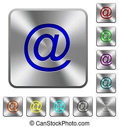 鋼鉄, 広場, 円形にされる, シンボル, ボタン, 単一, 電子メール