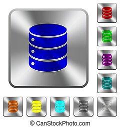 鋼鉄, 広場, 円形にされる, データベース, ボタン, 単一
