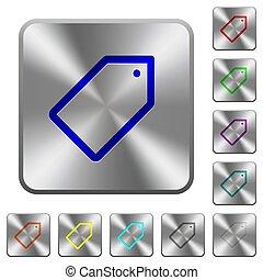 鋼鉄, 広場, 円形にされる, ボタン, 単一, タグ