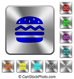 鋼鉄, 広場, 円形にされる, ボタン, 単一, ハンバーガー