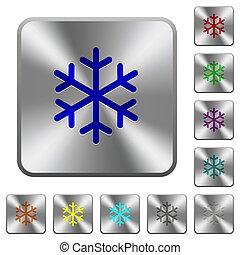 鋼鉄, 広場, 円形にされる, ボタン, 単一, 雪片
