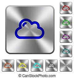 鋼鉄, 広場, 円形にされる, ボタン, 単一, 雲