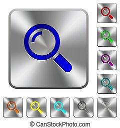 鋼鉄, 広場, 円形にされる, ボタン, 単一, magnifier