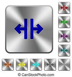 鋼鉄, 広場, 円形にされる, 縦, 道具, ボタン, 分裂