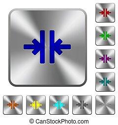 鋼鉄, 広場, 円形にされる, 縦, 道具, ボタン, 合併しなさい