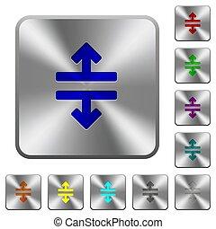 鋼鉄, 広場, 円形にされる, 道具, ボタン, 分裂, 横