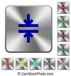 鋼鉄, 広場, 円形にされる, 道具, ボタン, 合併しなさい, 横