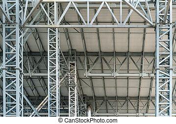 鋼鉄, 建物構造, 底, 金属, コマーシャル, 工場, 屋根, 大きい, 屋根ふき, 倉庫, 光景