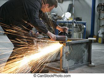 鋼鉄, 手動 労働者, こする, 生産, テーブル, ホール