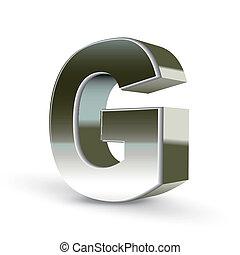 鋼鉄, 手紙, 銀, g, 3d