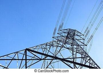 鋼鉄, 支持, 電力, パイロン, そびえ立つ, ケーブル