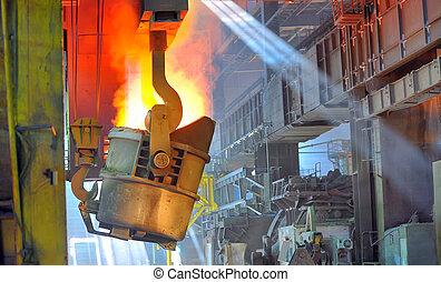 鋼鉄, 暑い, 溶けている