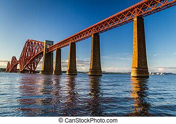 鋼鉄, 橋, スコットランド, 古い, 日没