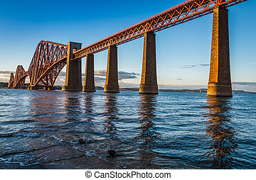 鋼鉄, 橋, スコットランド, 日没