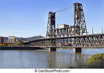 鋼鉄, 橋, 上に, 川, willamette