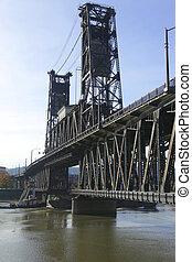 鋼鉄, 橋, 渡ること, barge., &