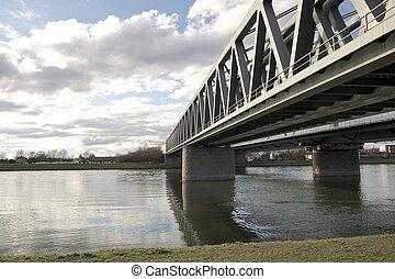 鋼鉄, 橋, 2, 川, 横切って