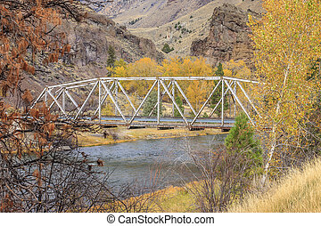 鋼鉄, 橋, autumn.