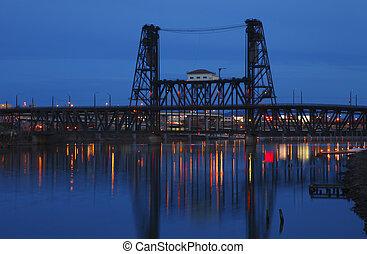 鋼鉄, 橋, dusk.