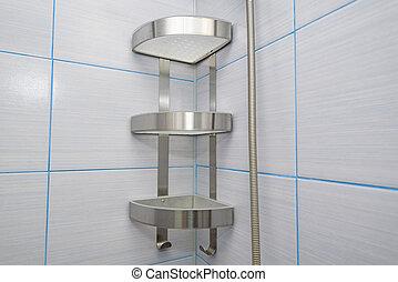 鋼鉄, 浴室, 棚, ステンレス食器, シャンプー, 空