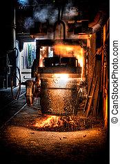 鋼鉄, 溶けている, 鋳物工場, 鉄, ひしゃく