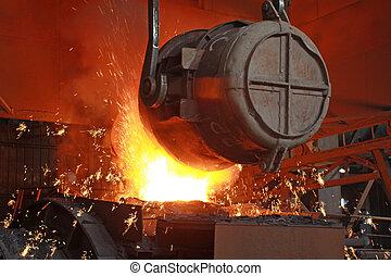鋼鉄, 灼熱である, 溶けている