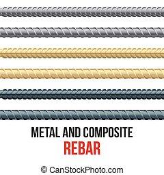鋼鉄, 無限, rebars., 補強, composite.