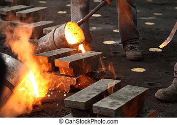 鋼鉄, 産業, 液体, 溶けている