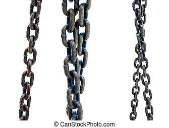 鋼鉄, 白, 古い, 背景, 鎖
