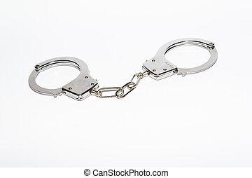 鋼鉄, 白, 手錠, 背景