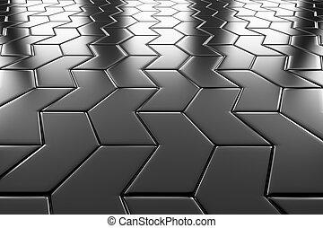 鋼鉄, 矢, ブロック, 床材, 見通し, 光景