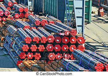 鋼鉄, 積み重ねられた, パイプ, pvc, 出荷, 準備ができた