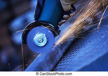 鋼鉄, 角度, 切断, 粉砕器