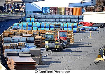 鋼鉄, 金属, シート, 港, 回転しなさい