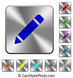 鋼鉄, 鉛筆, 広場, 円形にされる, ボタン, ゴム, 単一