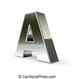 鋼鉄, 銀, 手紙, 3d