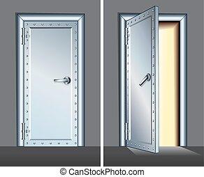 鋼鉄, 開いた, door., ベクトル, 閉じられた, 地下
