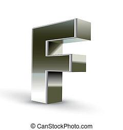 鋼鉄, 3d, 銀, 手紙f