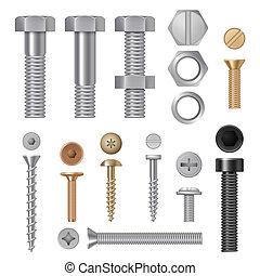 鋼鉄, bolts., 映像, 金属, ハードウェア, 現実的, ベクトル, 万力, ねじ, 建設, 道具, リベット