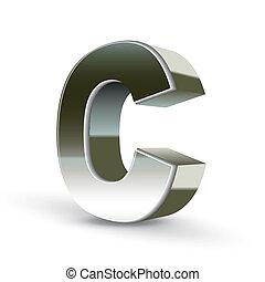 鋼鉄, c, 銀, 手紙, 3d
