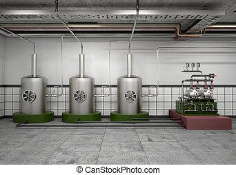 鋼鉄, machine., 前提, ステンレス食器, 蒸留, イラスト, 装置, 容器, 3d