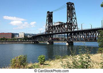 鋼鉄, or., ポートランド, 橋