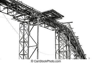 鋼鉄, pipe-line, 白い背景
