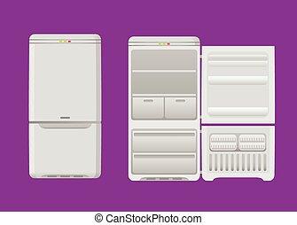 鋼鉄, retro-style, 漫画, 冷蔵庫