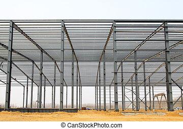 鋼, 工業, 橫樑, 屋頂, 生產, 車間