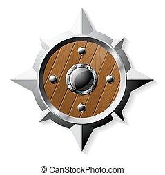 鋼, 星, 盾, 被隔离, 形狀, 木頭, 白色